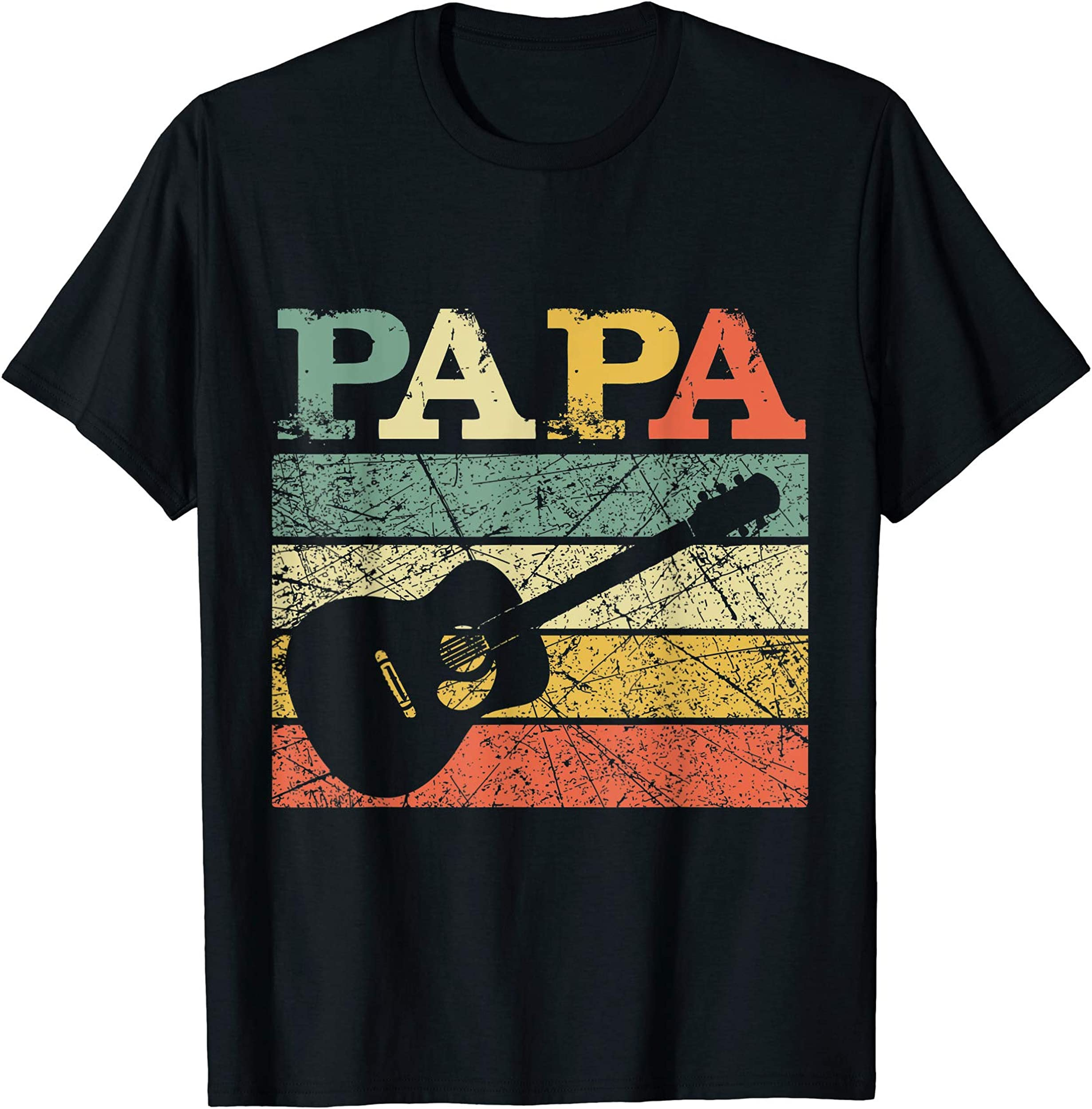 Guitar Papa Retro Vintage Guitarist Dad Father Gift T-Shirt