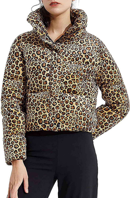 Springrain Womens Leopard Print Long Sleeve Full Zip Button Down Puffer Jacket