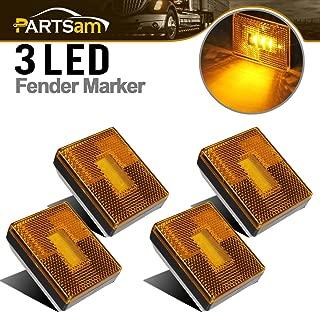 Partsam 4pcs AMBER Square Clearance Side Marker Light Trailer RV w reflex reflector, 2-4/5