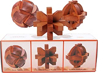 Toys of Wood Oxford Wooden Brain Teaser Puzzles-Galileo Globe, Halley's Comet and Lock Ball Puzzle- IQ Puzzle Games Set for Adults and Older Children and Men's Gift Set for Father's Day