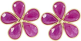 Gehna 18k Yellow Gold and Ruby Stud Earrings for Women