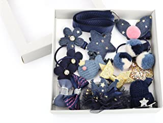 Zooawa Baby Girls Hair Clips, [18 Pack] Cute Hair Bows Alligator Clip Barrettes Hair Accessories with Duckbill Clip for Baby Girls Toddlers Kids Pets, Indigo
