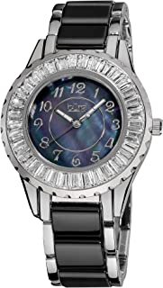 Burgi Women's Ceramic Bracelet Watch - Sparkling Baguettes Bezel Mother-of-Pearl Dial, Luminescent Hands - BUR066