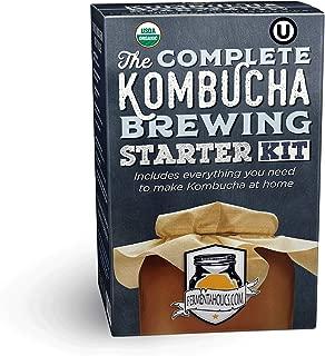 Complete Kombucha Brewing Starter Kit   Fermentaholics Organic Kombucha Kit   Includes Live Kombucha SCOBY & 1-Gallon Glass Brewing Jar   Includes Everything Needed To Brew One Gallon Of Kombucha