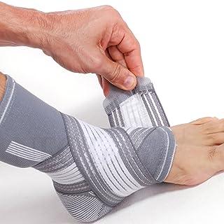 Tobillera ancha de sujeción (1 Unidad) - Tejido ligero, elástico y transpirable - Para aliviar los músculos - Tira de compresión ajustable - Marca Neotech Care - Gris (Talla L)