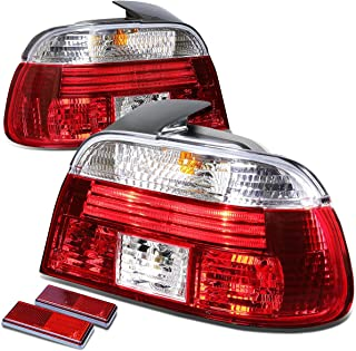 For BMW E39 5-Series 4Dr Pair of Chrome Housing Red Rear Brake+Signal Tail Light