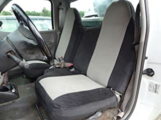 Durafit Seat Covers, Made to fit F284-V1-V7- Ford Ranger XL Regular Cab Front 60/40 Split Bench Seat Covers in Black/Gray Velour with Molded Headrests and Without Armrest
