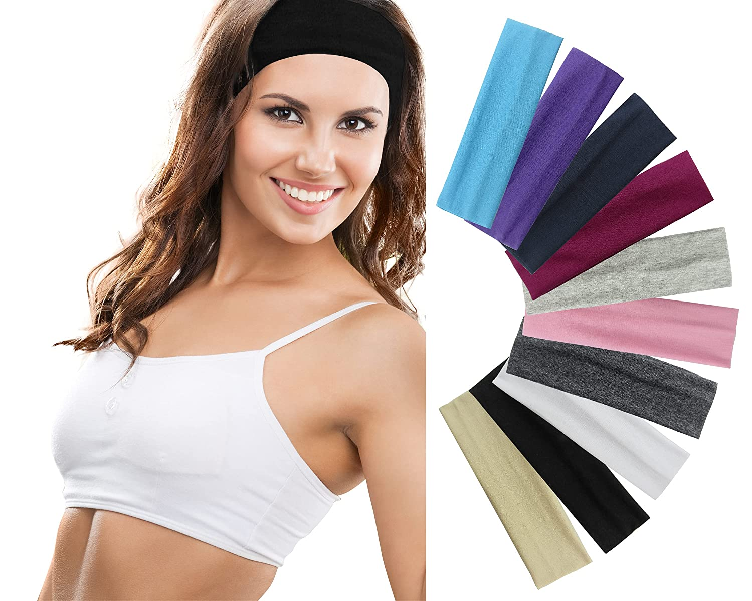 Styla Hair 10 Pack Stretch Headbands Non-Slip Head Wraps Great for Sports, Yoga, Pilates, Running, Gym, Workouts, Baseball, Casual Wear, Gifts & more! Variety