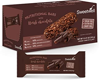 Sweetwell - Healthy Grains and Chocolate Bars - Superior Taste - Sugar Free - Gluten Free - Dairy Free - Dark Chocolate - With Amaranth - 0.88 oz - Pack of 16