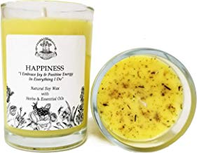 Art of the Root Happiness Soy Affirmation Candle: 8 oz with Herbs & Essential Oils for Joy, Positive Energy & Optimism for Wiccan, Pagan & Magic Spells & Rituals