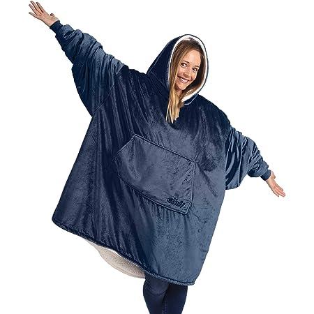 THE COMFY Das komfortable Original | Übergroße tragbare Decke aus Mikrofaser und Sherpa, Erwachsenengröße Blau