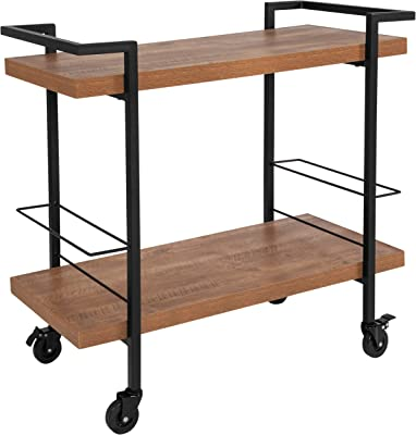 Taylor + Logan Rustic Wood Grain Kitchen Bar Cart with Two Storage Compartment Racks