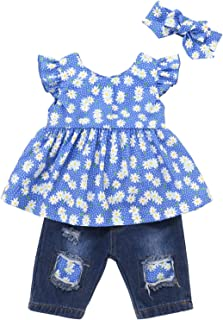 Baby Girls Clothes Blue Ruffle Short Sleeve+Baby Girl Outfits Ripped Jeans Headband Set