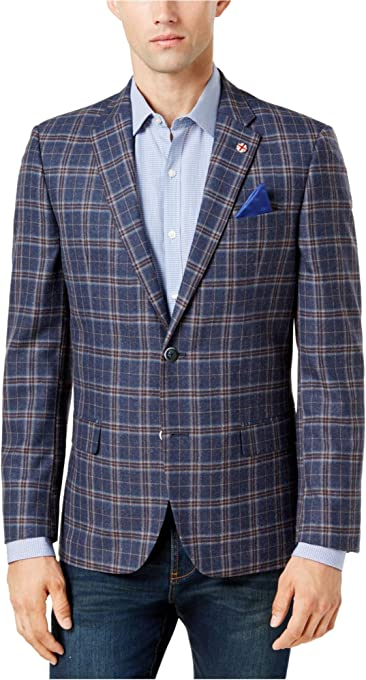 Ben Sherman Men's Two Button Hanwell Slim Fit Windowpane Sportcoat, Blue with Burgundy