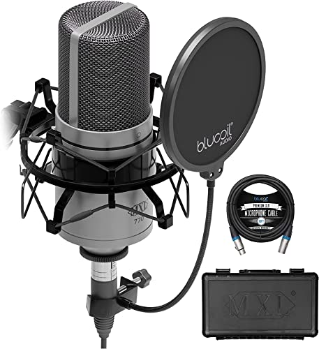 popular MXL 770 Cardioid Condenser Microphone for Piano, Guitar, String wholesale Instruments, and Vocal Recording (Silver) Bundle with Blucoil 10-FT Balanced high quality XLR Cable, and Pop Filter Windscreen sale