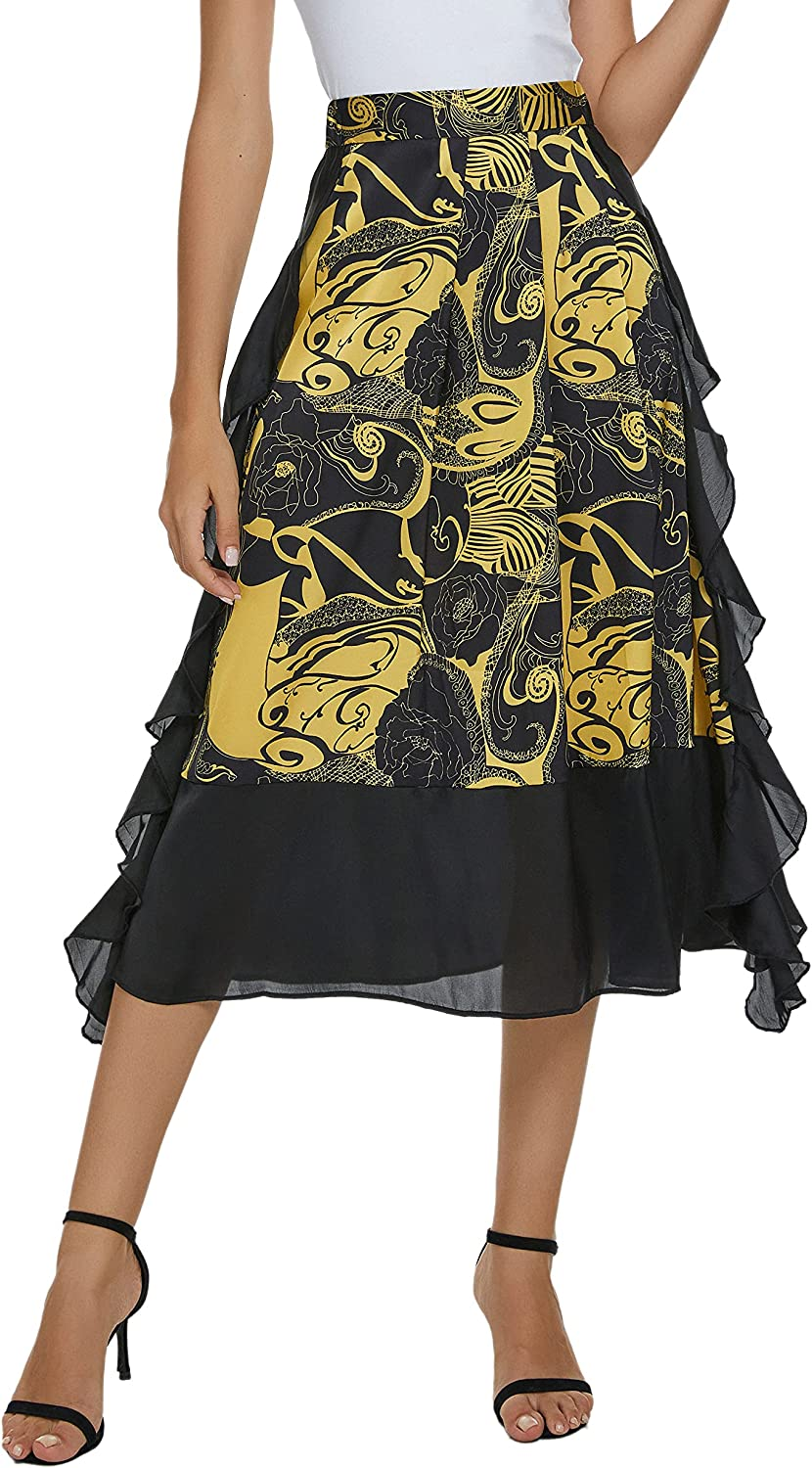 Urban CoCo Women's Vintage Printed High Waist A-Line Pleated Patchwork Midi Skirts