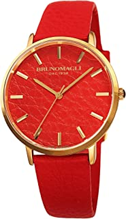 Bruno Magli Women's Roma 1163 Swiss Quartz Unique Orange Italian Leather Dial Strap Watch