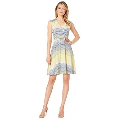 eci Striped Textured Soft Knit Fit and Flare Dress (Yellow/Blue) Women