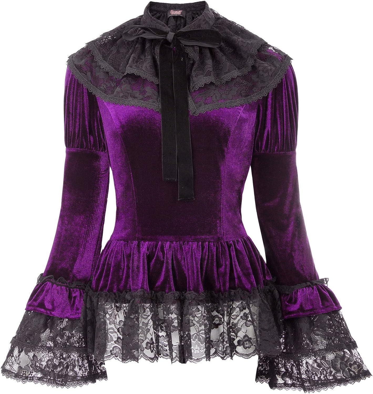 SCARLET DARKNESS Women Gothic Victorian Velvet Top Retro Steampunk Blouse