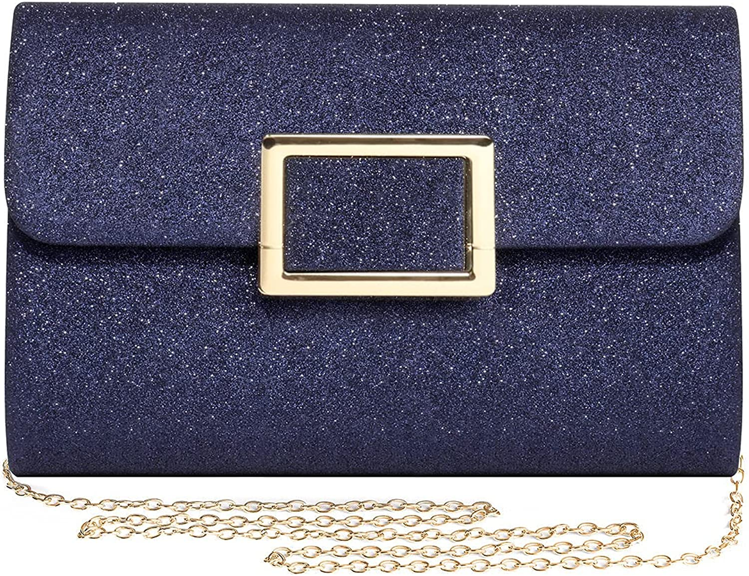 Mulian LilY Sparkly Glitter Clutch Purse Evening Bag With Detachable Chain Party Prom Clutch Bag