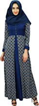Bimba Womens Muslim Maxi Abaya Dress Printed Jilbab with Hijab