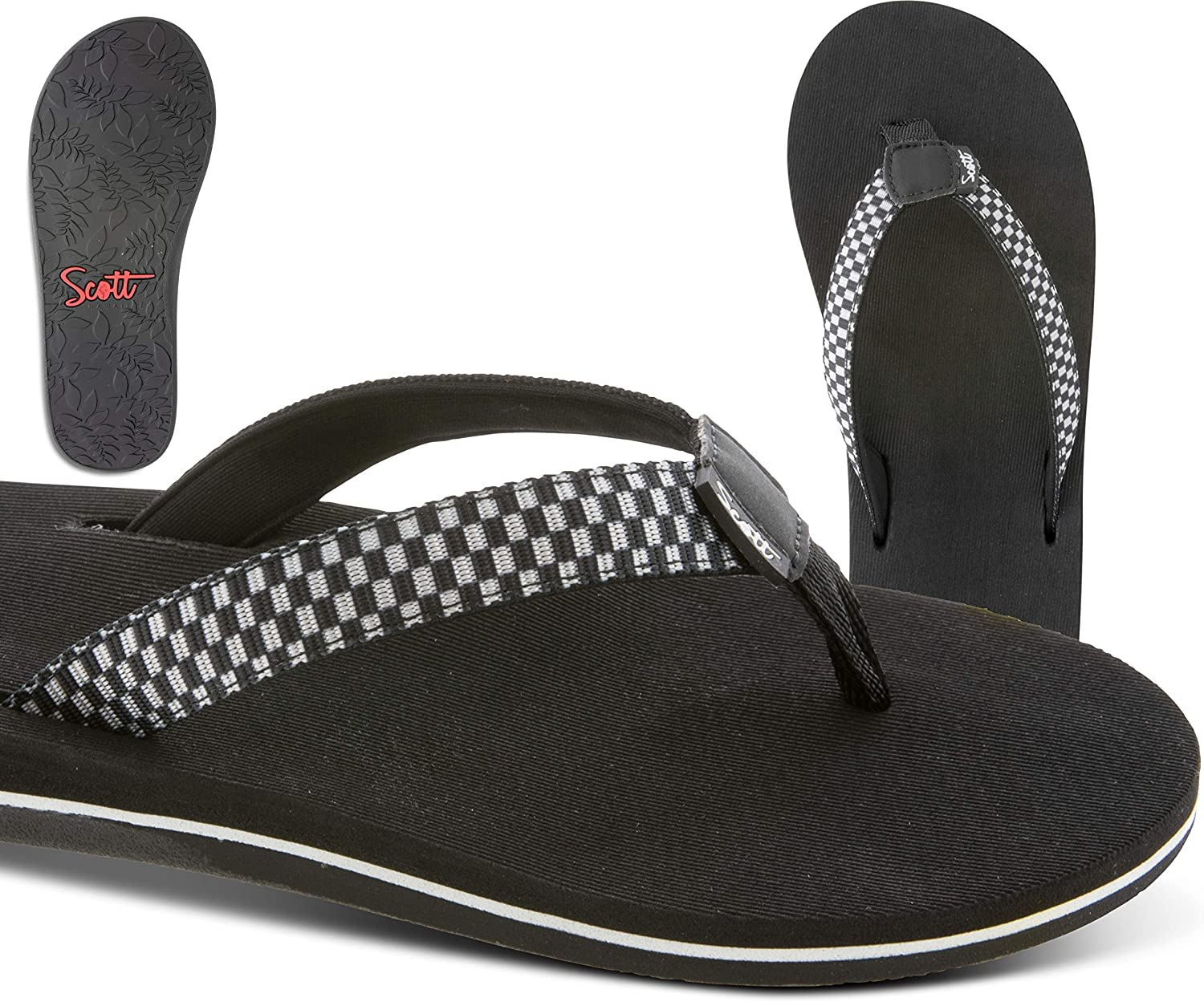 Women's Scott Checkered Olino Sandal with Combed Cushioned Footbed and Heel Cup