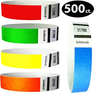 """Tyvek Wristbands – Goldistock 500 Count Rainbow Variety Pack – ¾"""" Arm Bands -100 Each: Neon Green, Blue, Red, Yellow & OrangePaper-Like Party Armbands - Heavier Tyvek Wrist Bands = SuperiorEvents"""