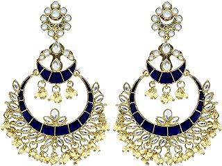 Jewelsiya Traditional Layer Chandbali Blue Kundan Bell Indian Jewellery Earring For Womens And Girls