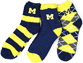 NCAA Michigan Wolverines 3 Piece Fuzzy Sock Bundle, Multicolor, One Size Fits Most