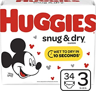 Huggies Snug & Dry Baby Diapers, Size 3 (fits 16-28 lb.), 34 Count, Jumbo Pack (Packaging May Vary)