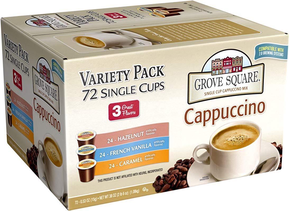 Grove Square Cappuccino Variety Pack 72 Single Serve Cups