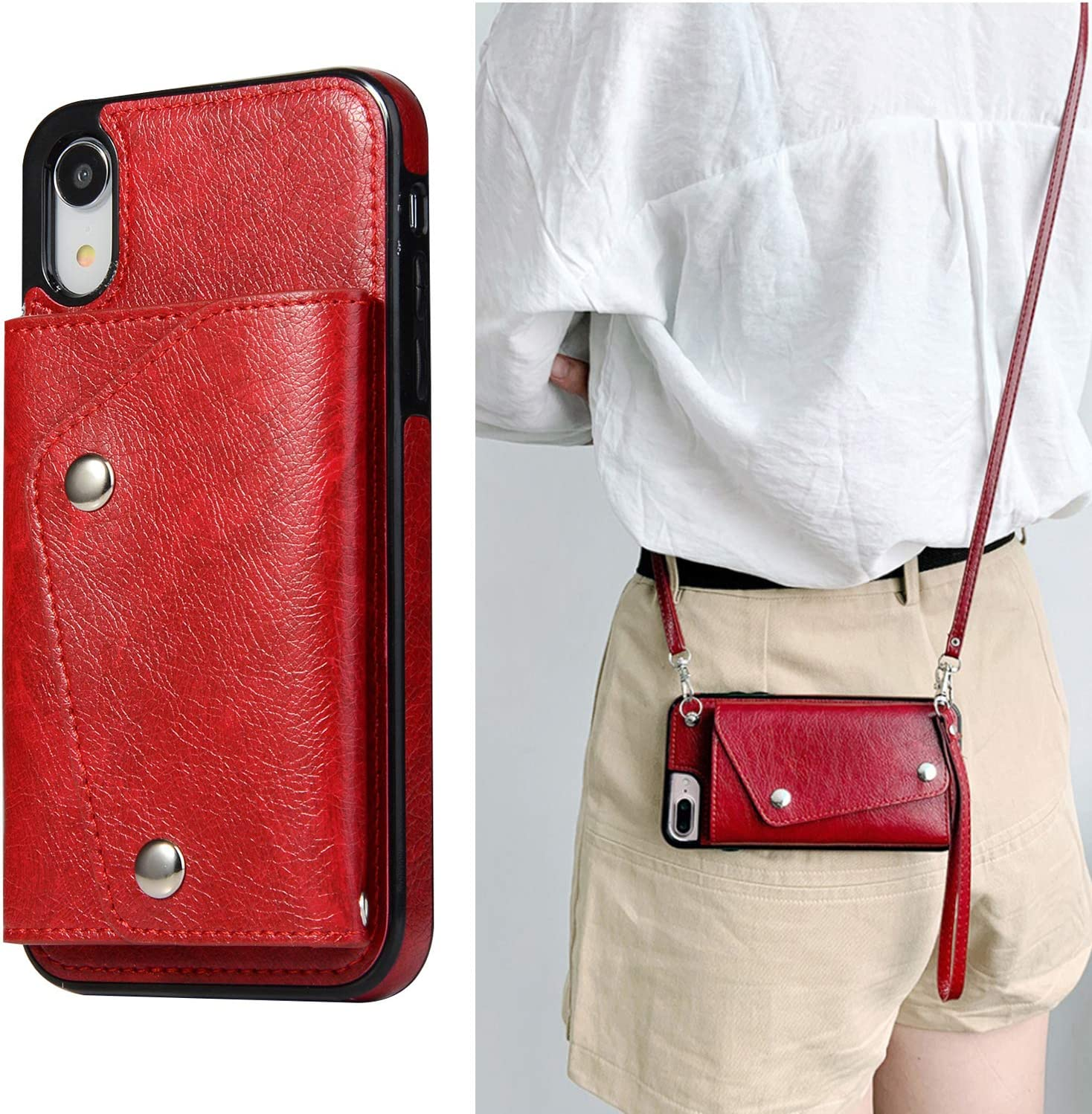LUVI for iPhone XR Wallet Case with Crossbody Neck Strap Lanyard Handbag Hand Wrist Strap Protective Cover with Credit ID Card Holder Slot PU Leather Case for iPhone XR Red