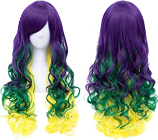 Purple Green Yellow Cosplay Wig Mardi Gras Carnival Party Wig Long Wavy Wig BU150