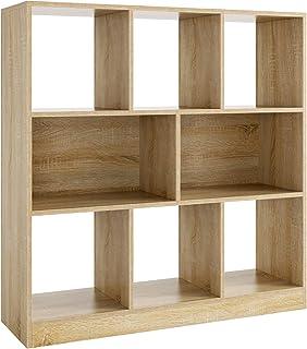 Homfa Meubles de Rangement Cube Étagère Bibliothèque Ouverte avec 8 Casiers pour Salon Bureau en Bois 97.5x30x100cm (Chêne)