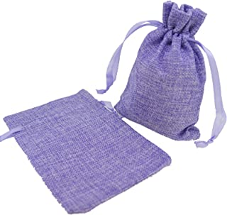 Stylish Mix Color Linen Pouches with Ribbon Drawstring for Gift Packaging, 2 Sizes Available Pack of 10 (5.5