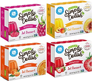 Simply Delish Sugar-Free Gluten-Free Natural Jel Dessert 4 Flavor Variety Bundle, (1) Each: Raspberry, Peach, Strawberry, and Orange (.7 Ounces)