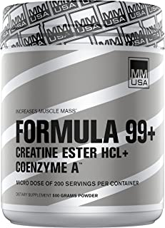 Formula 99+ Pre Workout Muscle Mass Building. Creatine Ester HCL with Coenzyme Power Accelerant Blend for Muscle Growth + ...