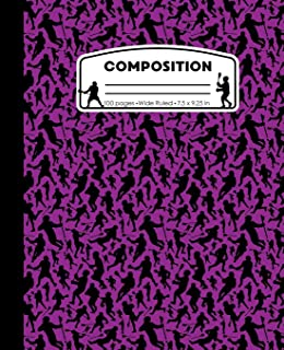 Composition: Lacrosse Purple Marble Composition Notebook. Sports Player Wide Ruled Book 7.5 x 9.25 in, 100 pages, journal for girls boys, kids, elementary school students and teachers