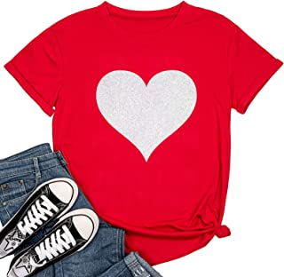 Beopjesk Womens Valentine's Day Graphic Tees Short Sleeve Heart Printed Shirts Blouse Tops