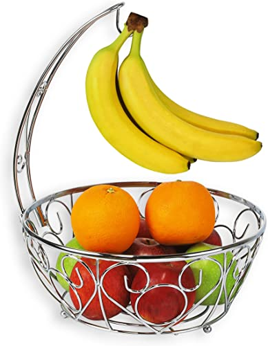 wholesale SimpleHouseware new arrival online Fruit Basket Bowl with Banana Tree Hanger, Chrome Finish outlet online sale