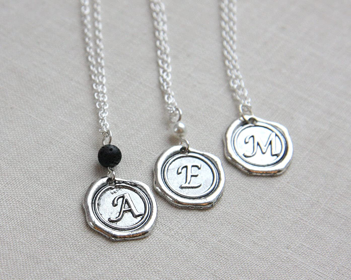 Mens Personalized Jewelry Initial Necklace Silver Disc Monogram Letter Alphabet Uppercase Personalized Pendant Wax Seal Mens Accessories boyfriend gift Handmade and Crafted by KapKaDesign