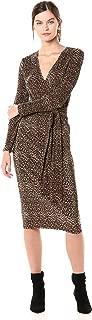 Women's Saloon Long Sleeve Textured Wrap Midi Dress