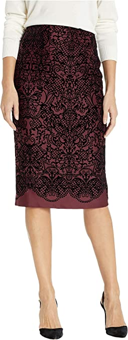Flocked Scuba Pencil Skirt