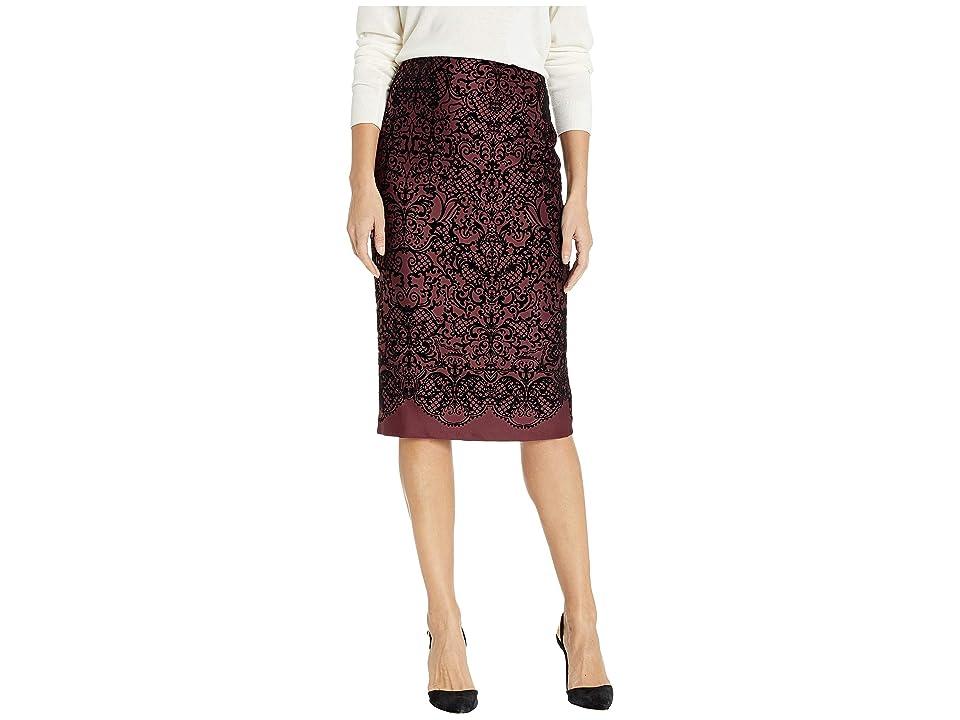 eci Flocked Scuba Pencil Skirt (Burgundy) Women