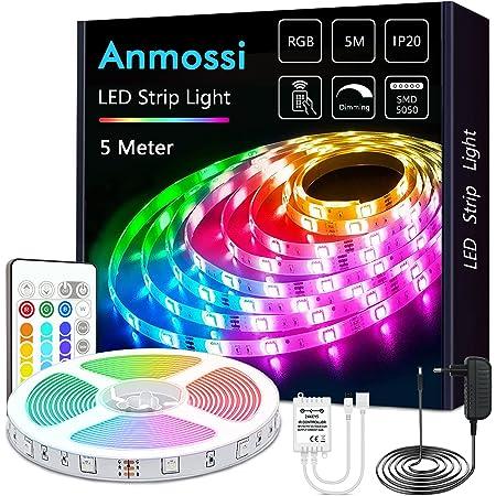 Anmossi LED Strip 5m,RGB LED Streifen mit Fernbedienung,AC220V-240V Dreamcolor LED Lichtleiste,SMD 5050 LED Lichtband,für die Beleuchtung von Haus,Decke,Party, Küche