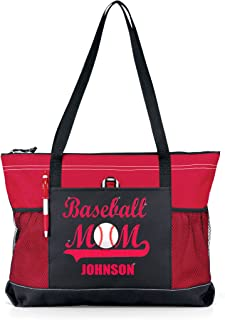 Glitter Baseball Momスポーツトートバッグ?–?レッドGlitter onレッド/ブラックTote with Player Name