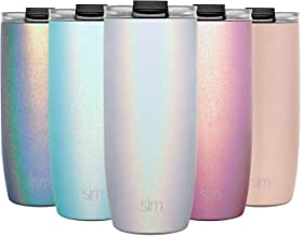 Simple Modern 20oz Voyager Travel Mug Tumbler w/Clear Flip Lid & Straw - Coffee Cup Vacuum Insulated Flask 18/8 Stainless Steel Hydro Water Bottle Shimmer: Selenite