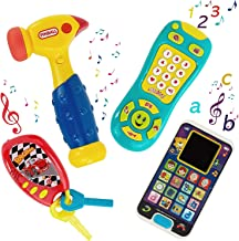 My First Baby Learning Music Playset Bundle Smartphone - Car keys - Remote TV Control and Hammer Pretend N Play with Storage Bag