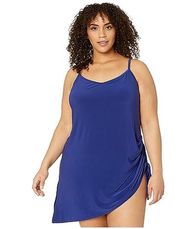 Magicsuit Plus Size Solid Brynn Swimdress One-Piece (Indigo) Women