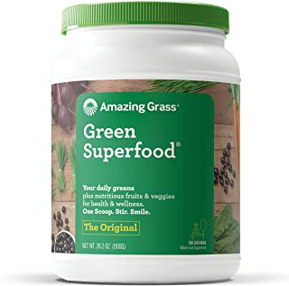 Amazing Grass Green Superfood: Organic Wheat Grass and 7 Super Greens Powder, 2 servings of Fruits & Veggies per scoop, Original Flavor, 100 Servings